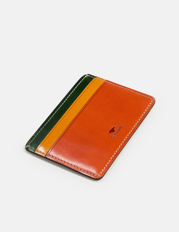 Il Bussetto Small Card Holder (Leather) - Brown/Yellow/Green