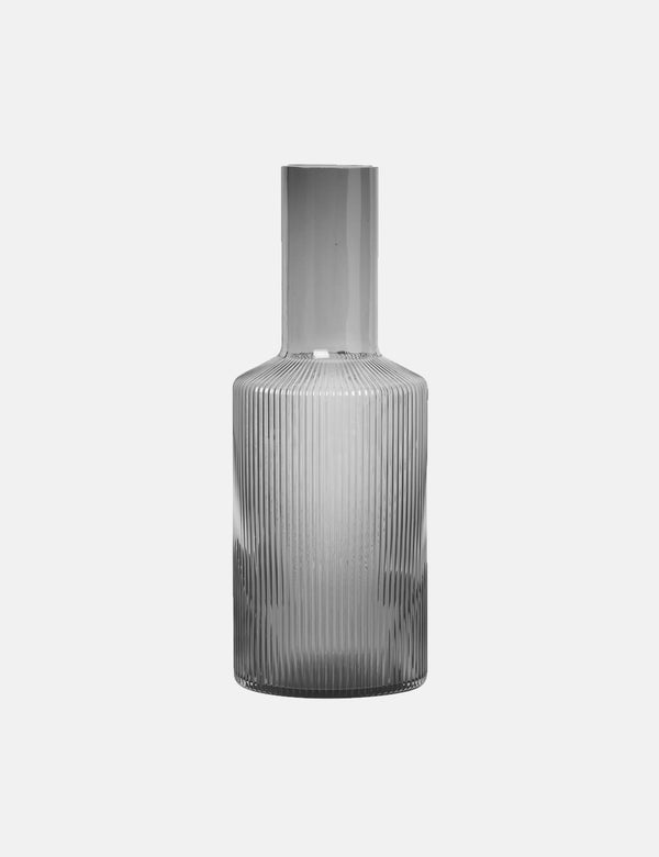 Ferm Living Ripple Glass Carafe - Smoked Grey