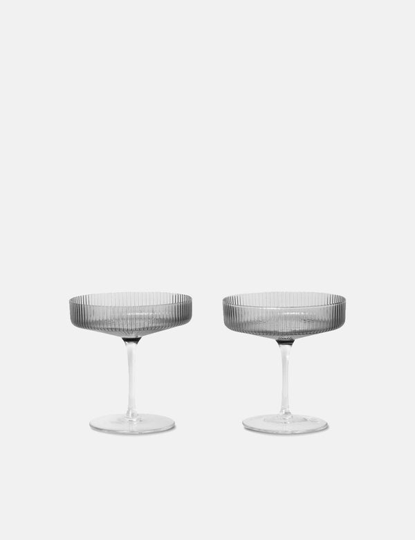 Ferm Living Ripple Champagne Saucer (Set of 2) - Smoked Grey