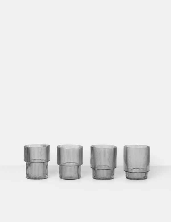 Ferm Living Ripple Glass Medium (Set of 4) - Smoked Grey