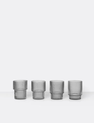 Ferm Living Ripple Glass (Set of 4) - Smoked Grey