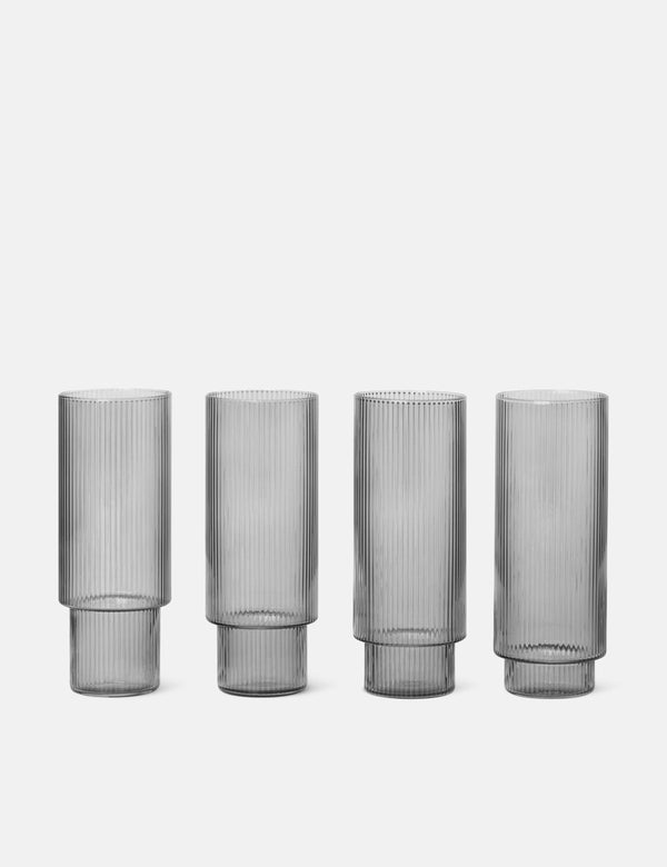 Ferm Living Ripple Long Drink Brille (4er Set) - Smoked Grey