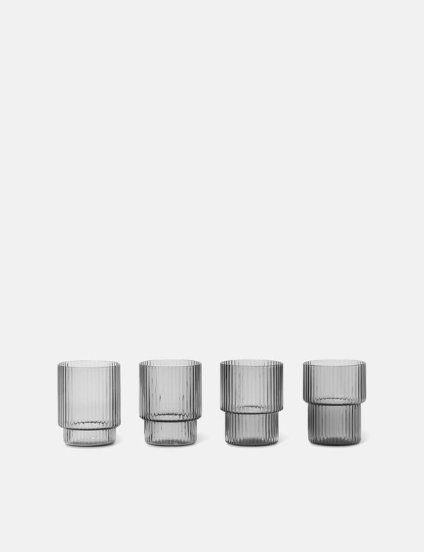 Ferm Living Ripple Glass Small (Set of 4) - Smoked Grey