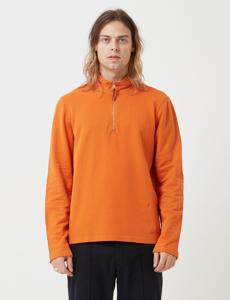 Albam Zipped Jersey Pullover Sweatshirt - Burnt Orange - Article