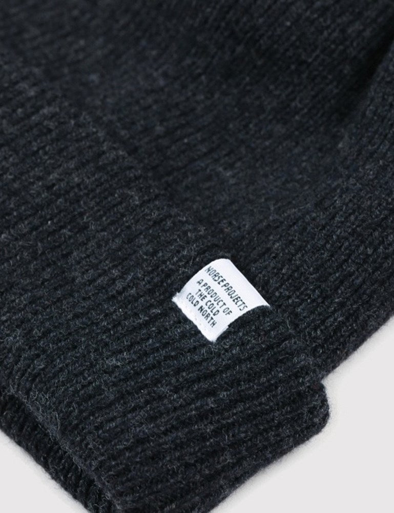 Norse Projects Beanie Hat Brushed (Wool) - Charcoal Grey