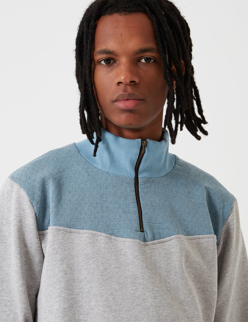Bleu De Paname Polo Zip Sweatshirt - Grey/Blue - Article