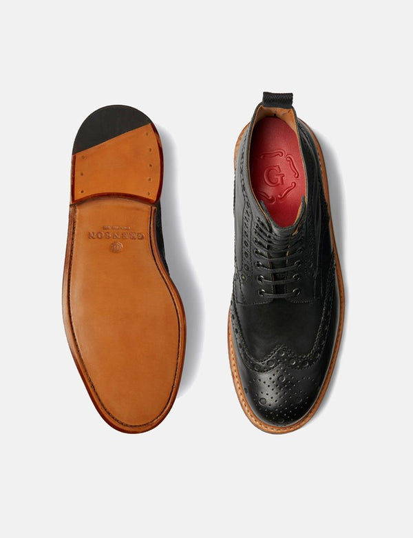 Grenson Fred Brogue Boot (Leather) - Black