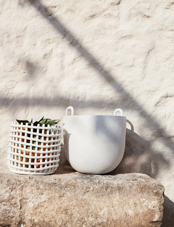 Ferm Living Ceramic Basket (Large) - Off White