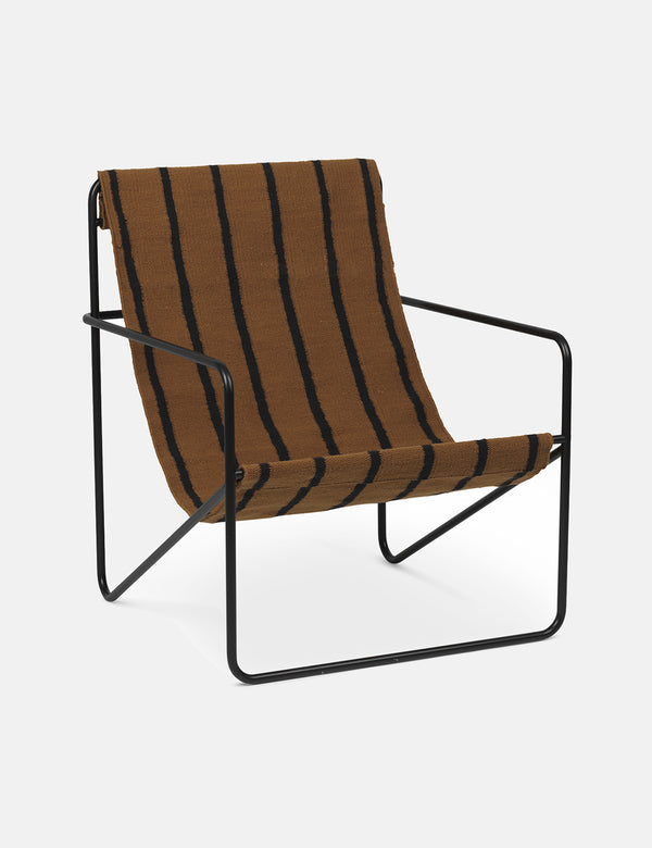 Ferm Living Desert Lounge Chair - Black/Stripes