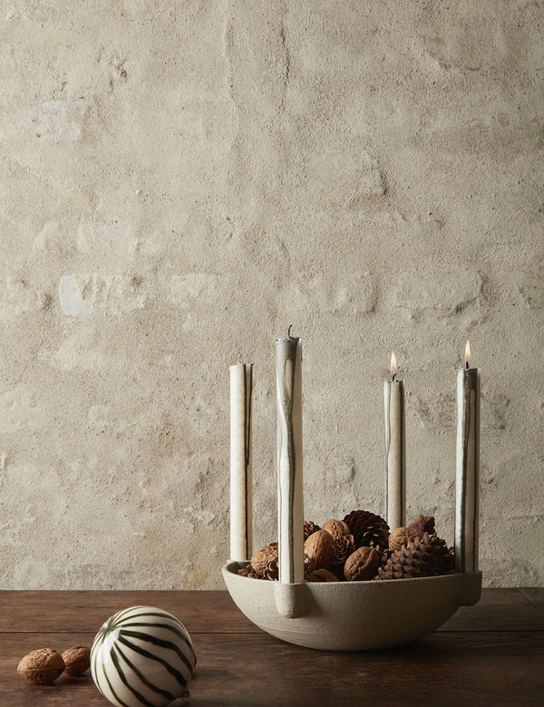 Ferm Living Bowl Ceramic Candle Holder (Large) - Beige