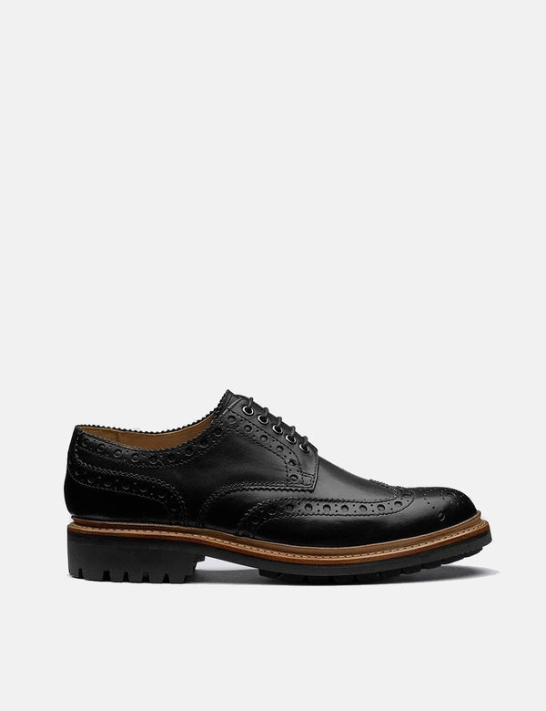 Grenson Archie Commando Sole Shoes (Leather) - Black