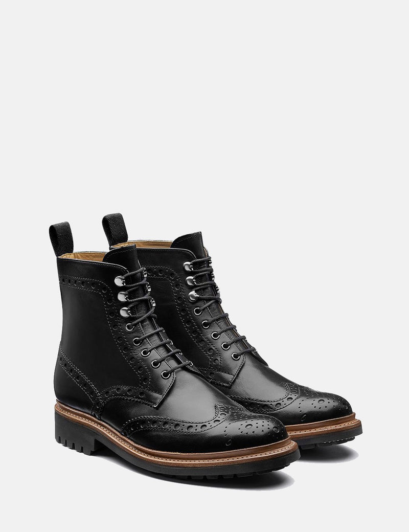 Grenson Fred Brogue Boot (Hand Painted) - Black