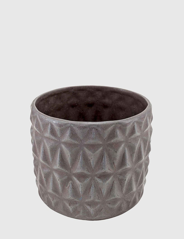Liv Interior Embossed Stoneware Planter - Dark Matte