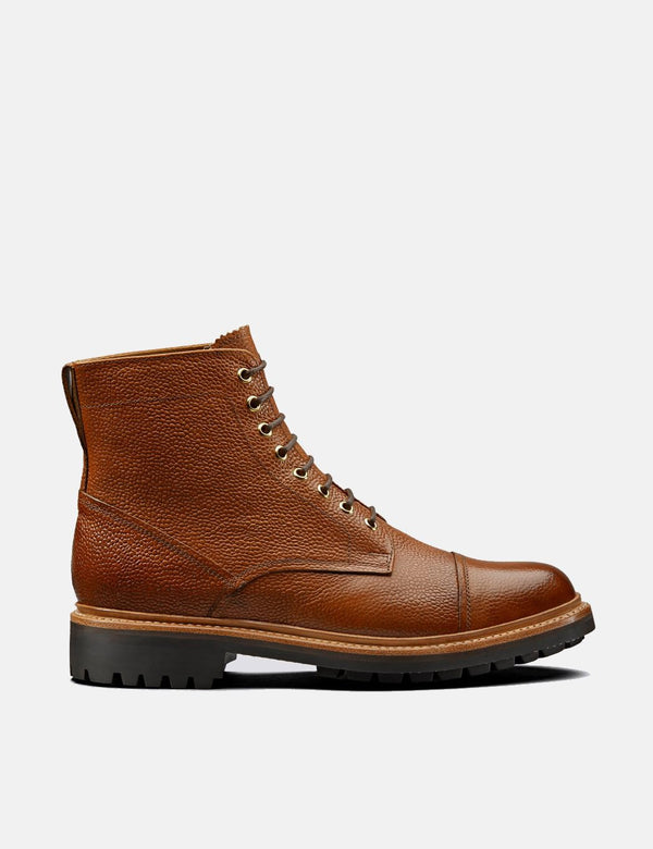 Grenson Joseph Boots (Leather Grain) - Mahogany Tan