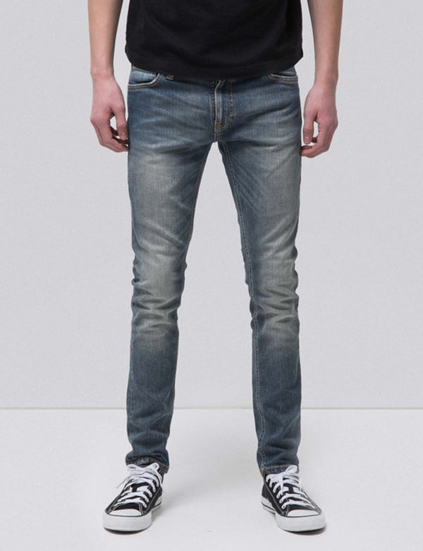 Nudie Skinny Lin Jeans (Super Tight) - Mid Authentic Power Blue