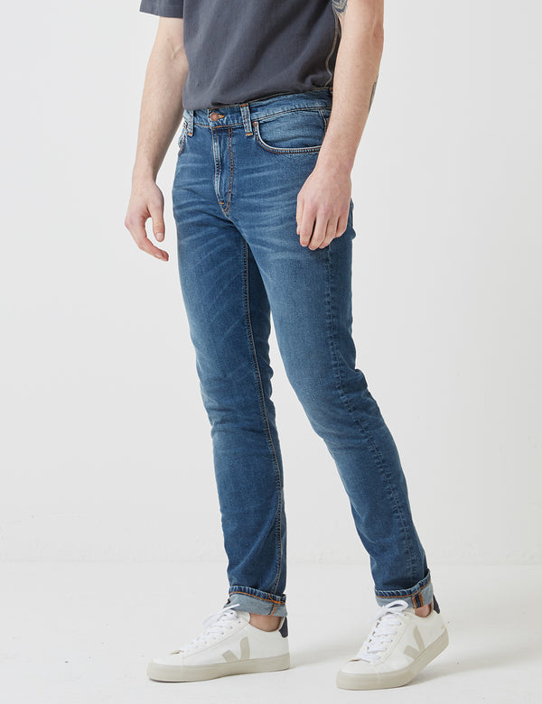 Nudie Lean Dean Jeans (Slim Tapered) - Mid Blue/Orange