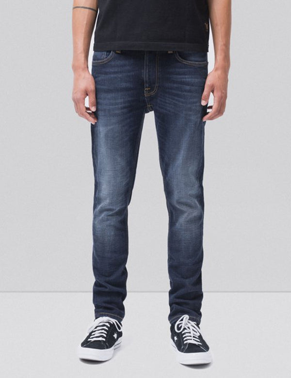 Nudie Lean Dean Jeans (Slim Tapered) -  Dark Deep Worn Blue