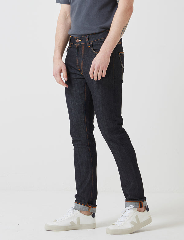 Nudie Lean Dean Jeans (Slim Tapered) - Dry Tonal Ecru Blue