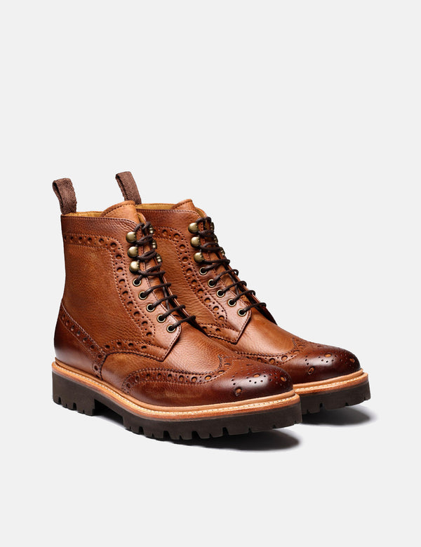 Grenson Fred Brogue Boot - Walnut Washed Nubuck