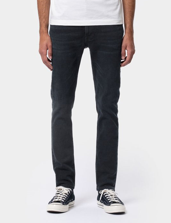 Nudie Lean Dean Jeans (Slim Tapered) - Black Out