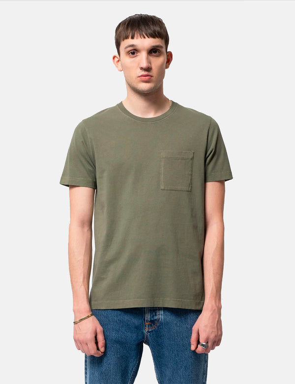 Nudie Roy One Pocket T-Shirt - Green