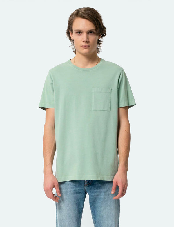 Nudie Roy One Pocket T-Shirt - Pale Green