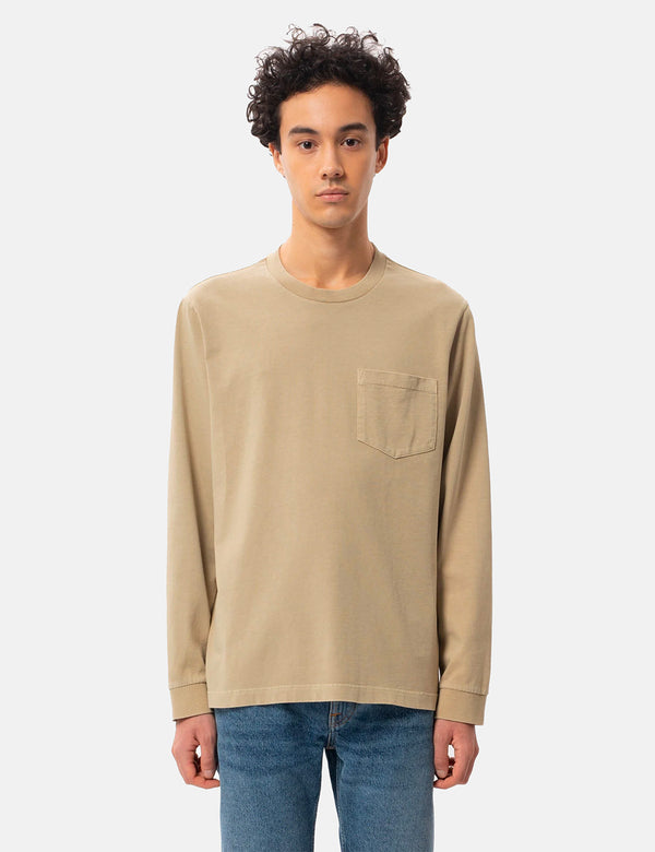 T-Shirt Nudie Rudi Heavy Pocket LS - Oat
