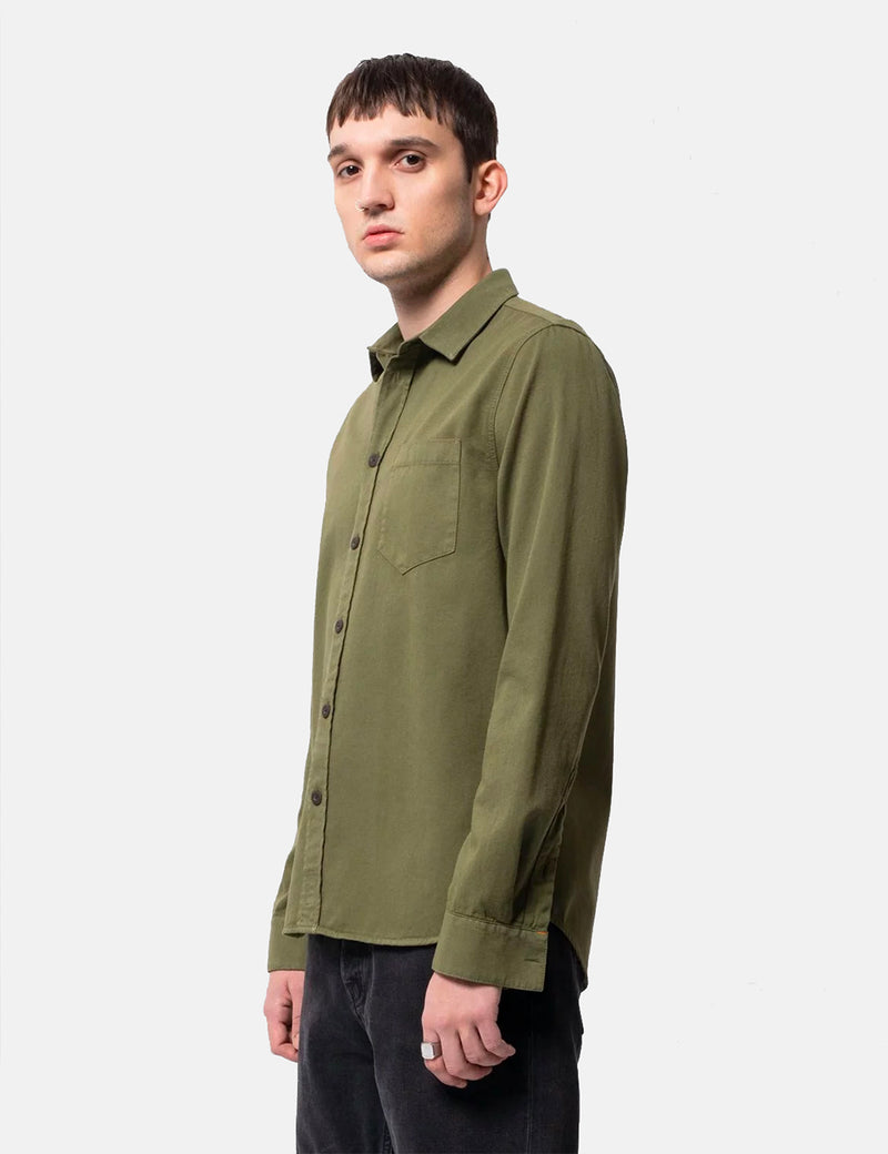 Nudie Henry Pigment Dyed Shirt - Green