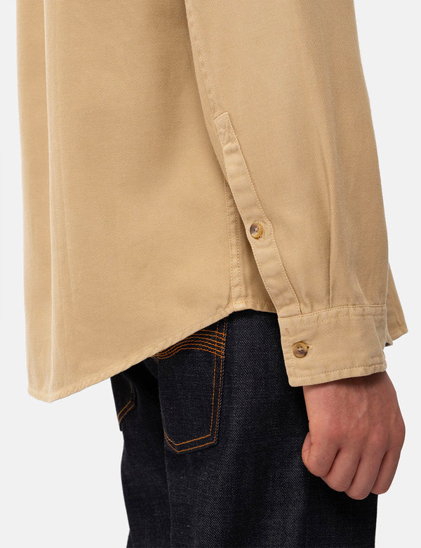 Nudie Chuck Fluid Twill Shirt - Oat