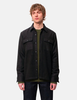 Nudie Sten Wool Shirt (Brushed) - Solid Black