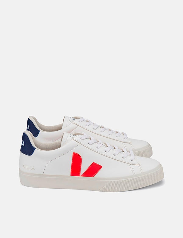 Baskets Veja Campo Femme (Cuir Sans Chrome) - Blanc/Orange-Fluo/Cobalt