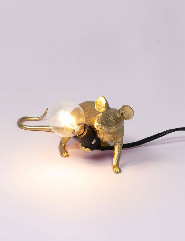 Seletti Mouse Lamp Lie Down - Gold