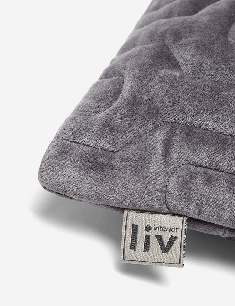 Liv Interior Quilted Velvet Cushion (45cm) - Granite Grey