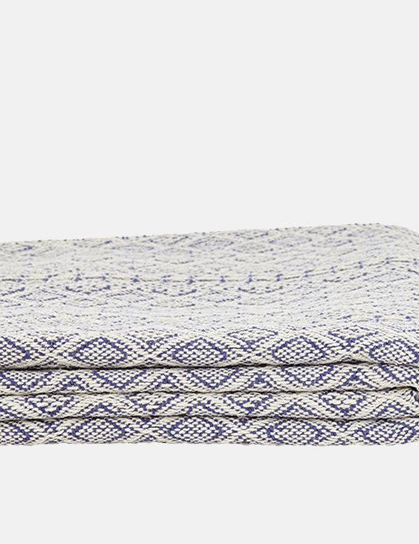 Liv Interior Cotton Throw (Diamond) - Natural/Blue