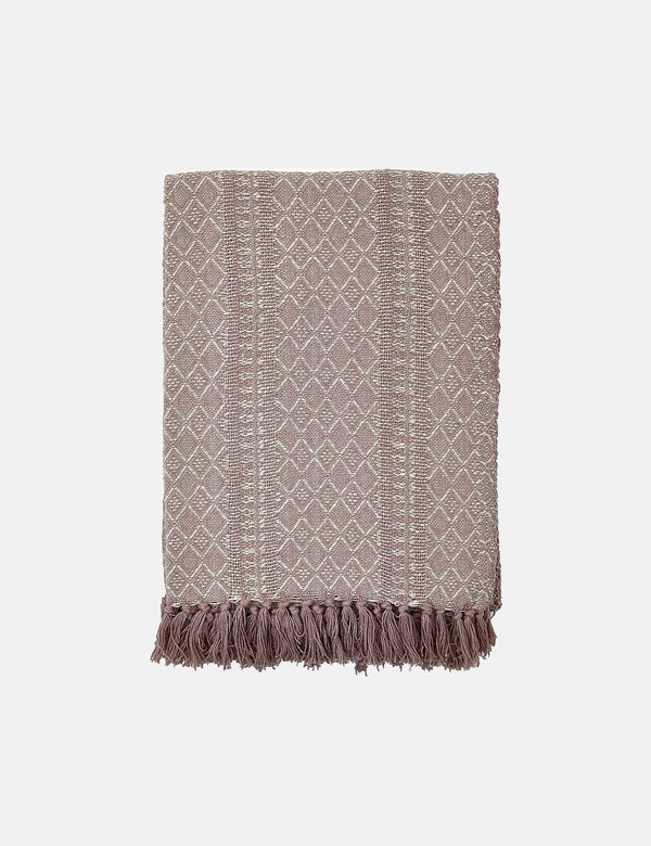 Liv Interior Throw, Cotton, Diamond - Mauve/Natural
