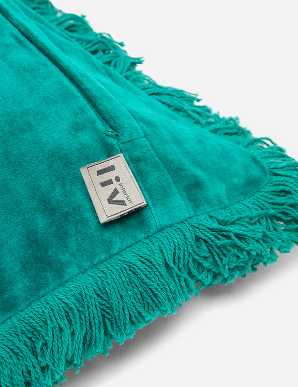 Liv Interior Fringed Velvet Cushion (45cm) - Emerald