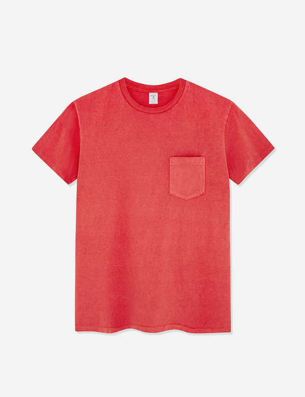 Velva Sheen Pigment Dyed USA Made T-shirt (Pocket) - Red