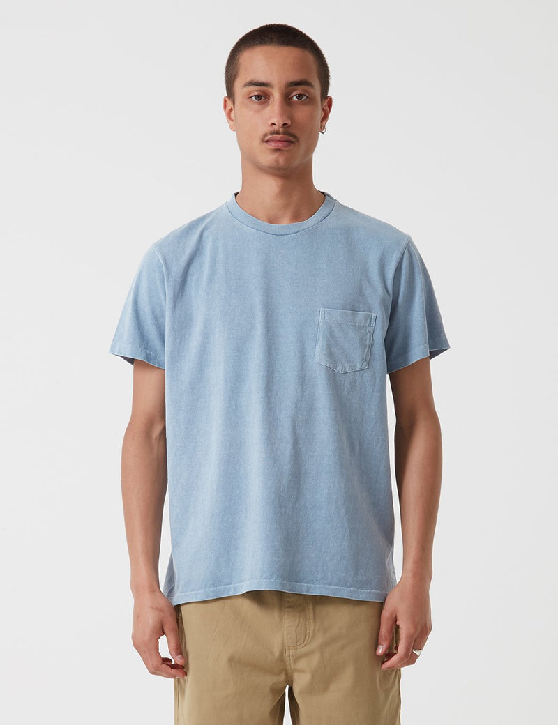 Velva Sheen Pigment Dyed USA Made T-shirt (Pocket) - Blue