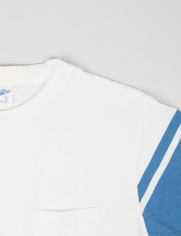 Velva Sheen College Arm Border T-shirt - White/Blue