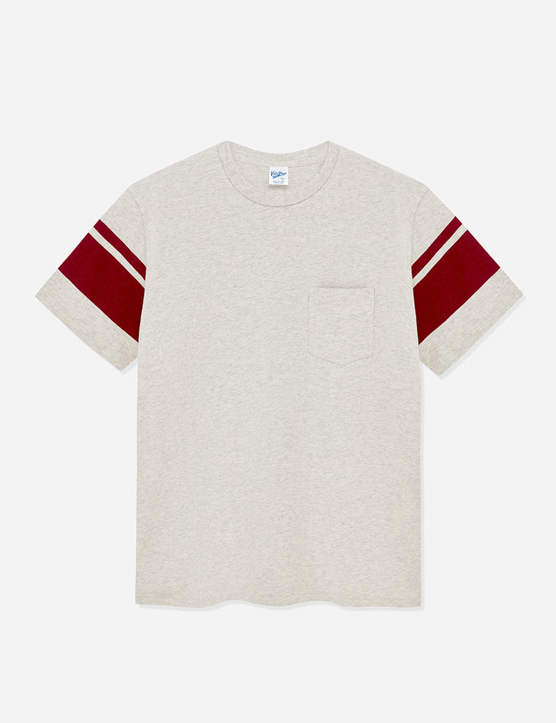 Velva Sheen College Arm Stripe USA Made T-shirt - Oatmeal/Burgundy