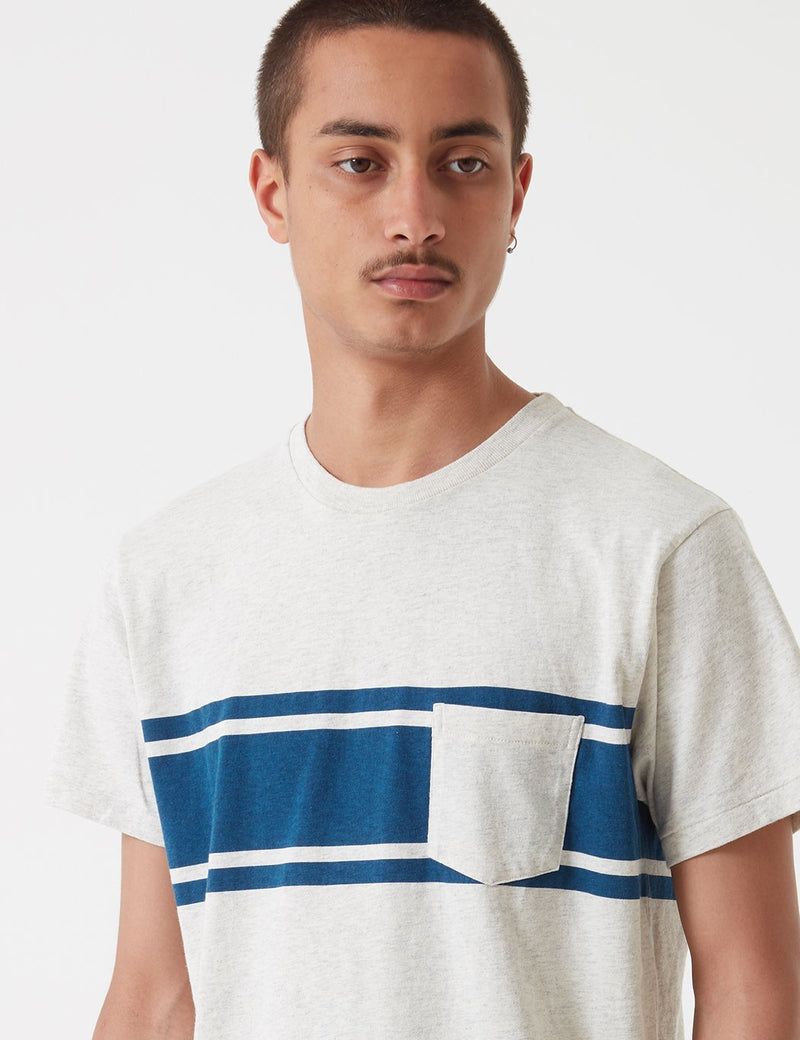 Velva Sheen College Stripe USA Made T-shirt - Oatmeal/Navy