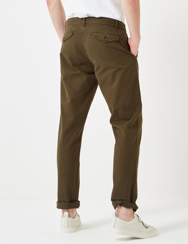 Universal Works Aston Chino Trousers - Olive Green