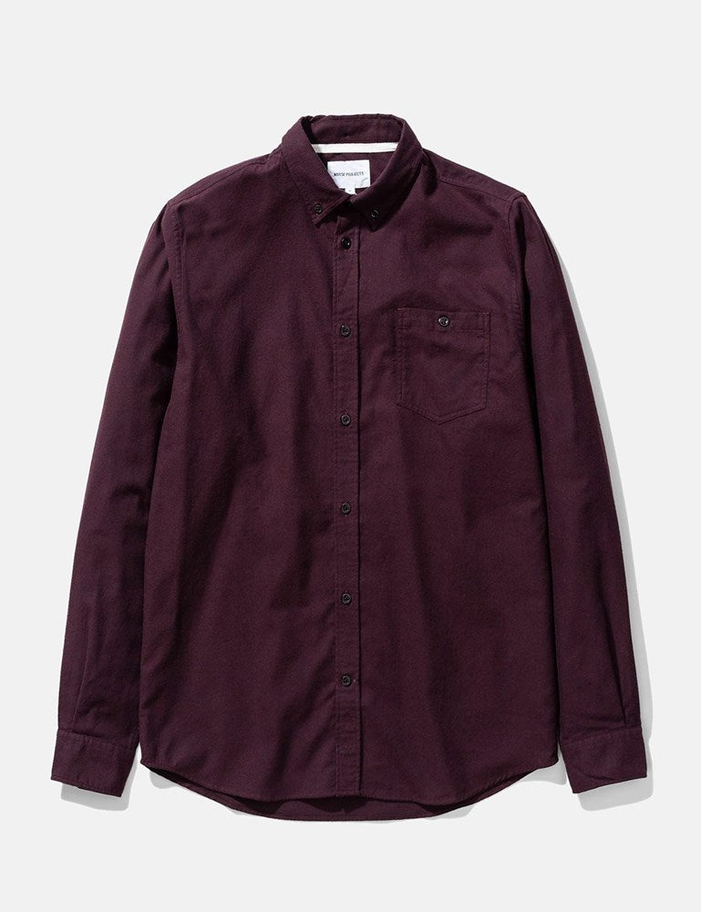 Norse Projects Anton Brushed Flannel Shirt - Eggplant Brown