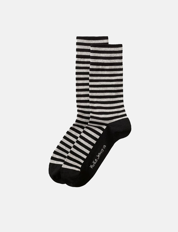 Chaussettes Nudie Olsson Breton Stripes - Black