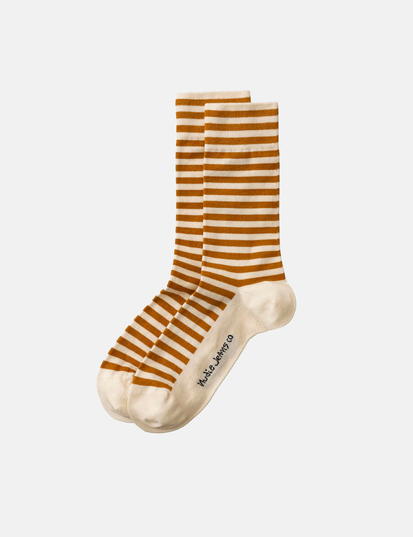 Chaussettes Nudie Olsson Breton Stripes - Cinnamon