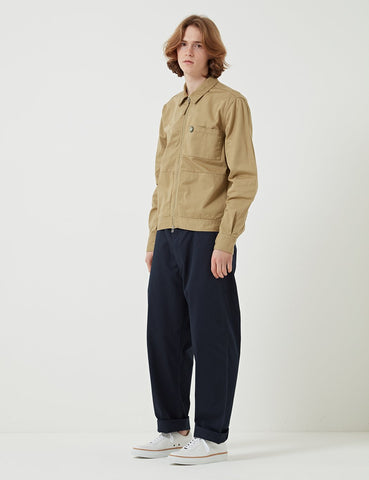Universal Works Twill Zip Uniform Shirt - Sand