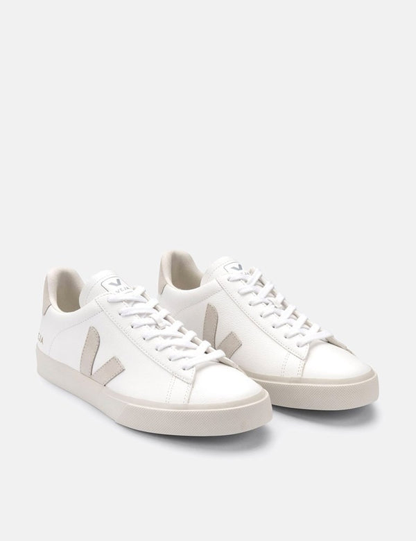 Baskets Veja Campo (Chrome Free) Femme - Extra Blanc/Daim Naturel