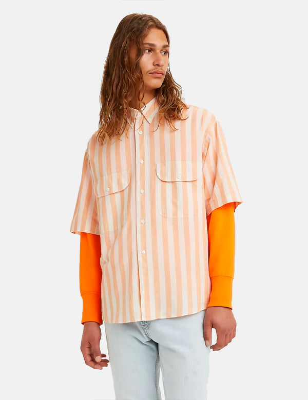Levis Vintage Clothing Diamond SS Shirt - Melone Orange/Weiß