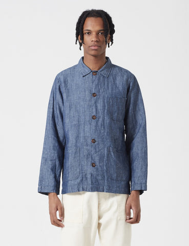 Universal Works Afro Chambray Bakers Overshirt - Indigo