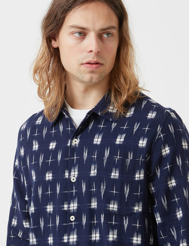 Universal Works Ikat HD Garage Shirt - Navy Blue